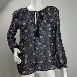 Wayf floral semi sheer tie neck blouse size S